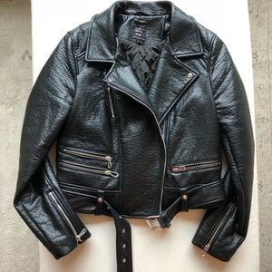 Zara leather biker coat